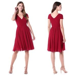 DRESS THE POPULATION Corey Chiffon Dress In Garnet